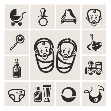 baby goods: Baby icons set Illustration