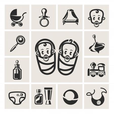 grzechotka: Dziecko zestaw ikon