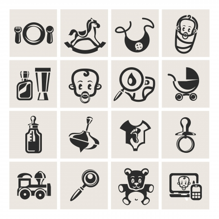 Baby icons set Stock Vector - 16214363