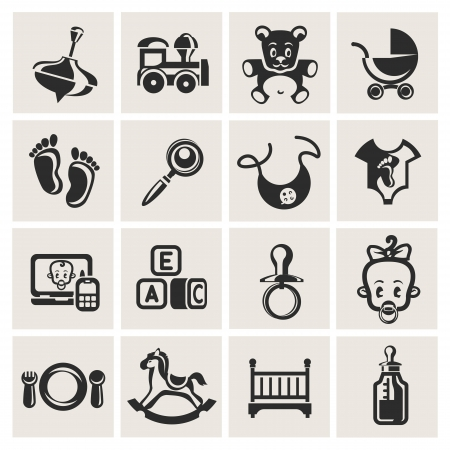 accessories horse: Baby icons set Illustration