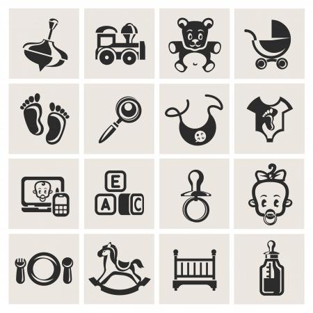 baby biberon: Icone per bambini set Vettoriali
