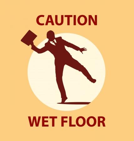 wet floor caution sign: Wet floor Illustration