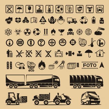 carton: Set van verpakking symbolen