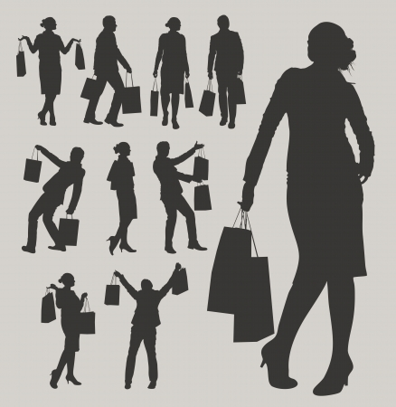 medium group of people: shopping Illustration