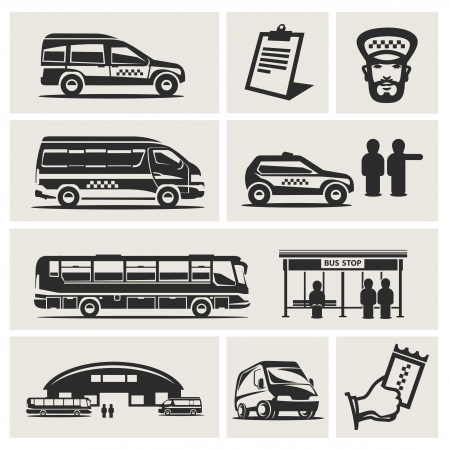 passenger buses: taxis Vectores