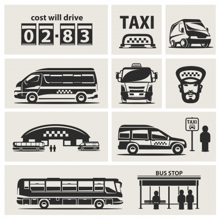 Taxi service set  Vector