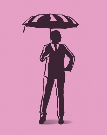 insecure: man holding an umbrella