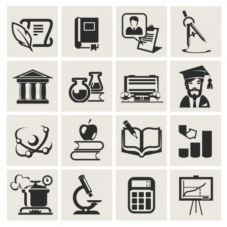 usb cable: Education. Set of icons. Illustration