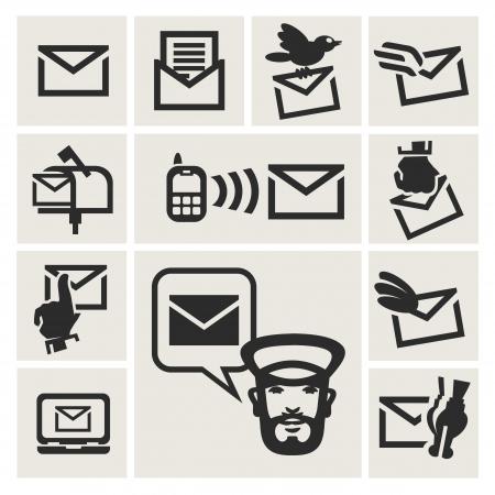 buzon de correos: iconos de mensaje establecido Vectores