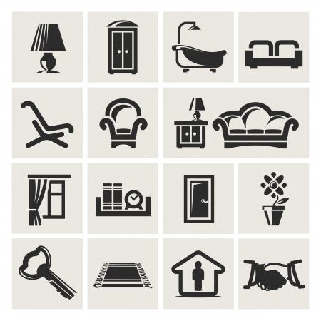 puertas de cristal: Iconos de los muebles Vectores