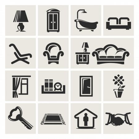 relocation: Icons of furniture Illustration
