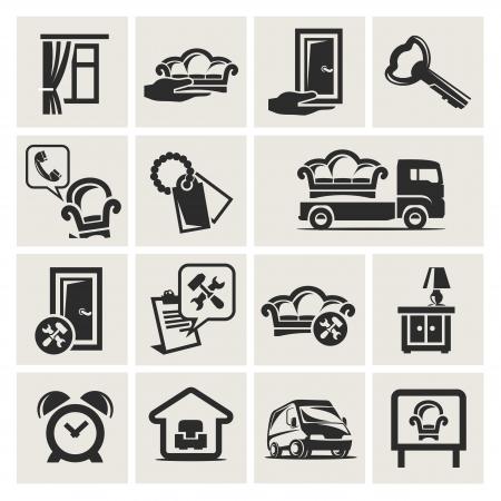 курьер: Набор иконок мебели Иллюстрация