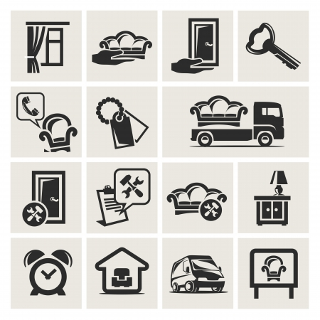 ladenkast: Icons set meubels Stock Illustratie