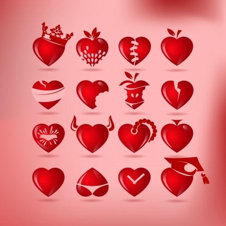 set of symbol heart, vector Stock Vector - 17894755