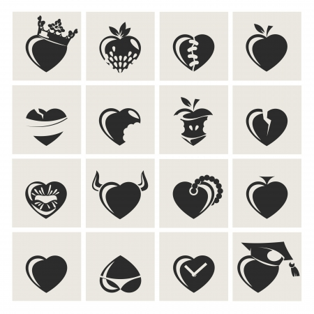 broken heart: set of symbol heart, vector