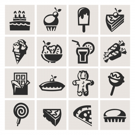 Collection of icons. Desserts. Vector
