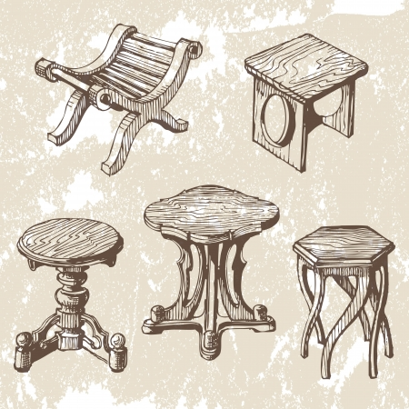 yard furniture: wooden furniture Illustration