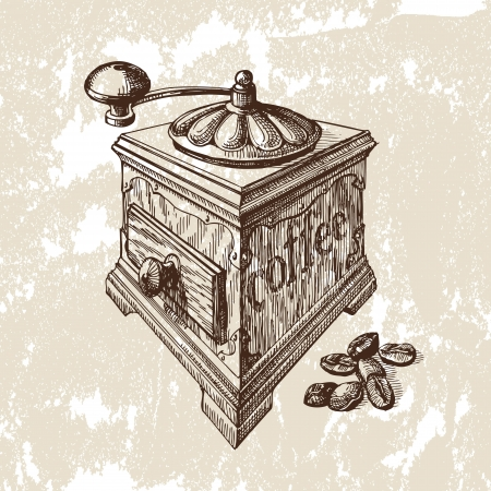 Hand drawn illustration. Coffee mill Vector
