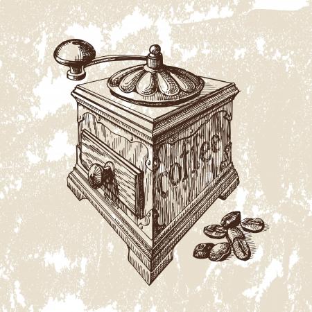 Hand gezeichnete Illustration. Kaffeemühle
