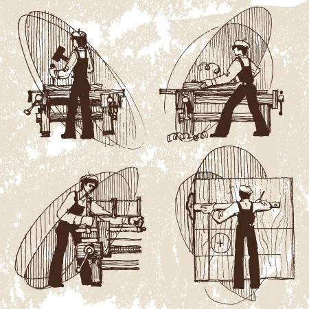 craftsman: ilustración vectorial de un carpintero Vectores