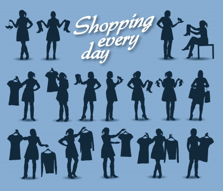 silhouettes of beautiful women Vector