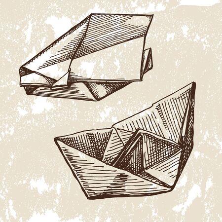 vintage origami Vector