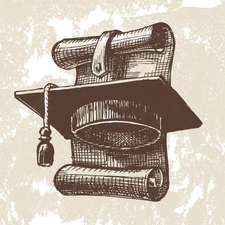 Graduation cap and diploma. Vector illustration Stock Vector - 18357486