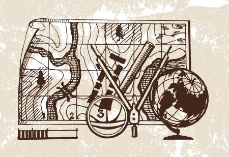surveyor: Geodesia. Ilustración vectorial