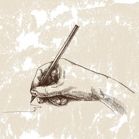 art materials: Hand and pencil. Drawing vector