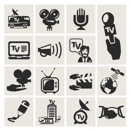 news van: Reporter. Set of icons vector