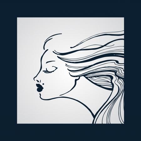 tattoo girl: Beautiful young girl Illustration