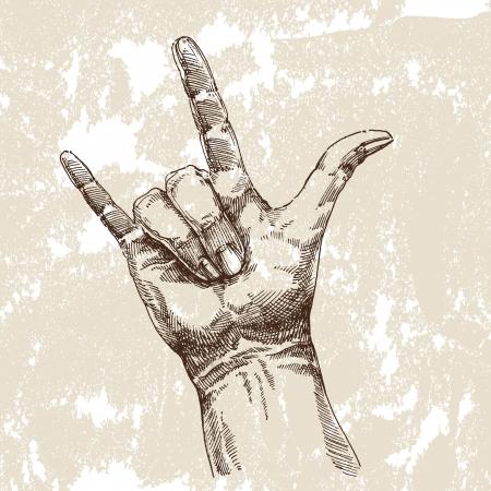 mani cartoon: Disegno a mano Vettoriali