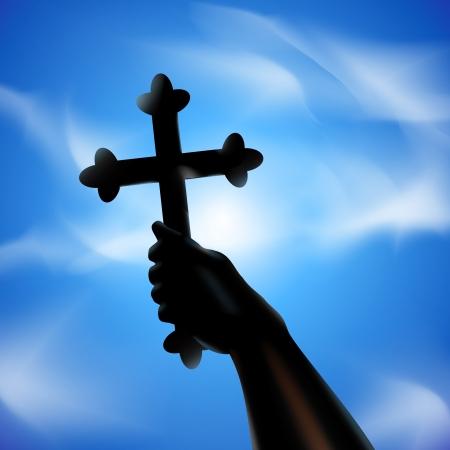 religious backgrounds: Cross in hand  illustration