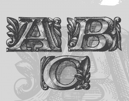 old style lettering: ABC.