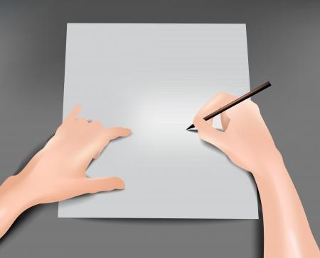niños escribiendo: Documento. Ilustración vectorial