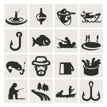 fisherman boat: Set of icons. fishing