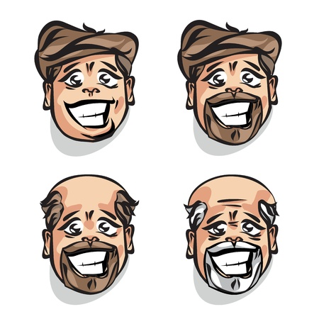 old man beard: Persons age. Vector illustration Illustration