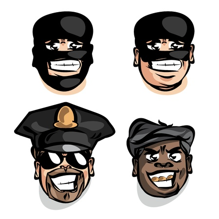 face guard: Criminal and police. Vector illustration
