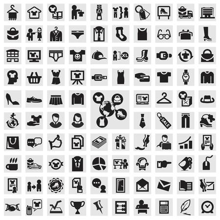 appendini: Set di icone. abbigliamento