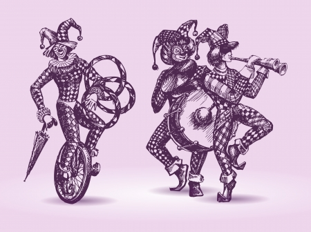 cartoon circus: Clowns illustration