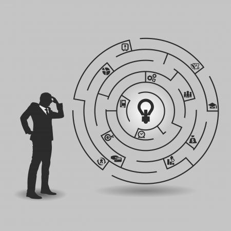 Homme d'affaires dans face d'un immense labyrinthe