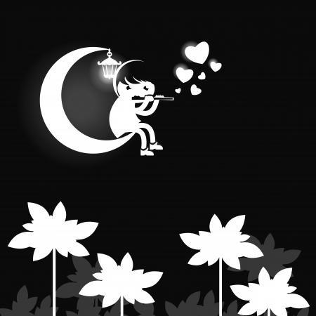 Moonlight lanterns: Các cậu bé. Vector hình minh họa