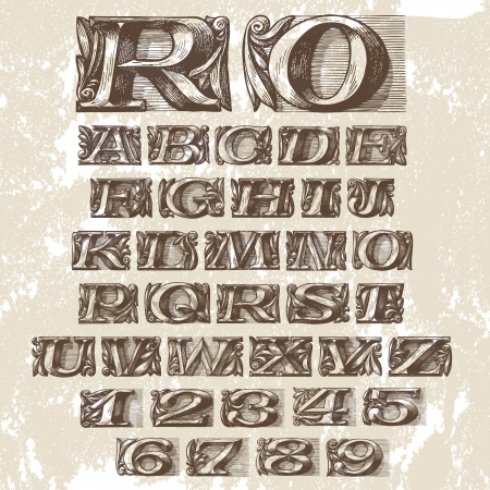 Vector Set. Vintage Fonts  Stock Vector - 19376866