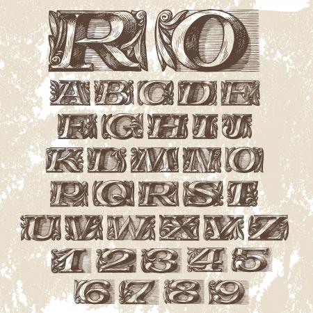 fonts vector: Vector Set. Vintage Fonts