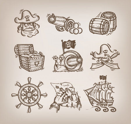 ship steering wheel: Set of icons. Authors illustration  Illustration