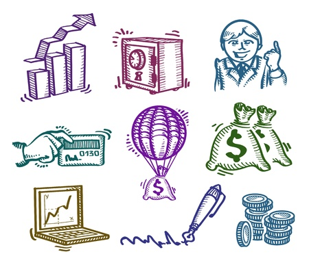 Set of icons. Business. Author's illustration Vector