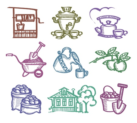 russian cuisine: Set of icons. Authors illustration  Illustration
