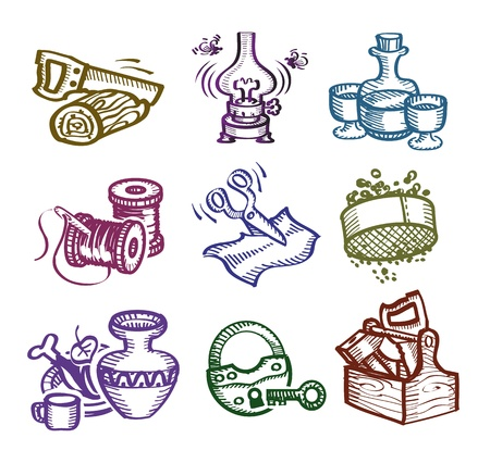 Set of icons. Author's illustration  Vector