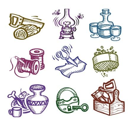 castles needle: Set of icons. Authors illustration  Illustration