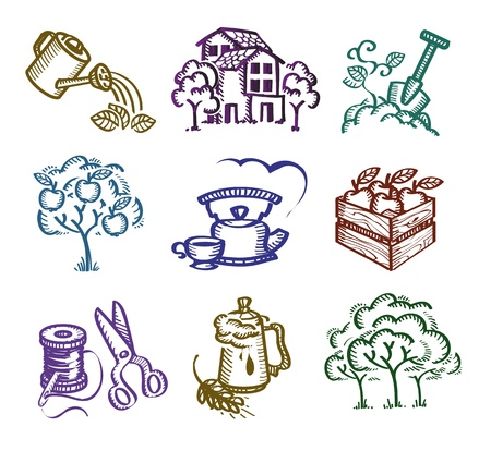 watering garden: Set of icons. Authors illustration  Illustration